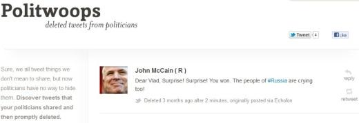 Tweet di McCain contro Putin