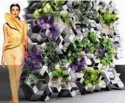 rendering di una parete composta con moduli 3D Elements of Nature